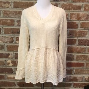 Altar'd State V-Neck Cream Sweater